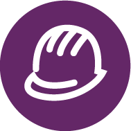 Purple button 同 a hard hat icon