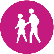 two figures walking icon