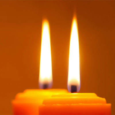 Two candles burning